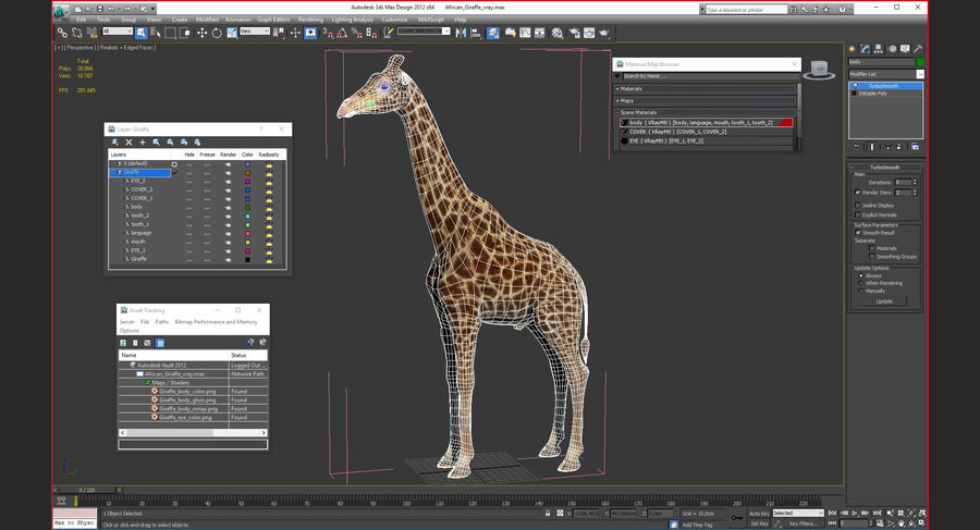 アフリカのキリン3Dモデル royalty-free 3d model - Preview no. 21