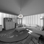 Siyah beyaz çizgi film oturma odası 3d model