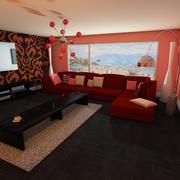 Elegant vardagsrum 3d model