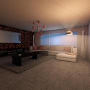 Elegante Wohnzimmer Nacht 3d model