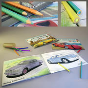 Coloring book and pencils 3d model
