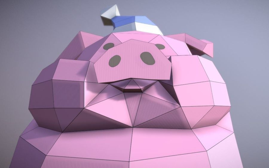 Pig Waddles royalty-free 3d model - Preview no. 7