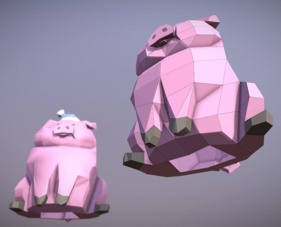 Pig Waddles royalty-free 3d model - Preview no. 6