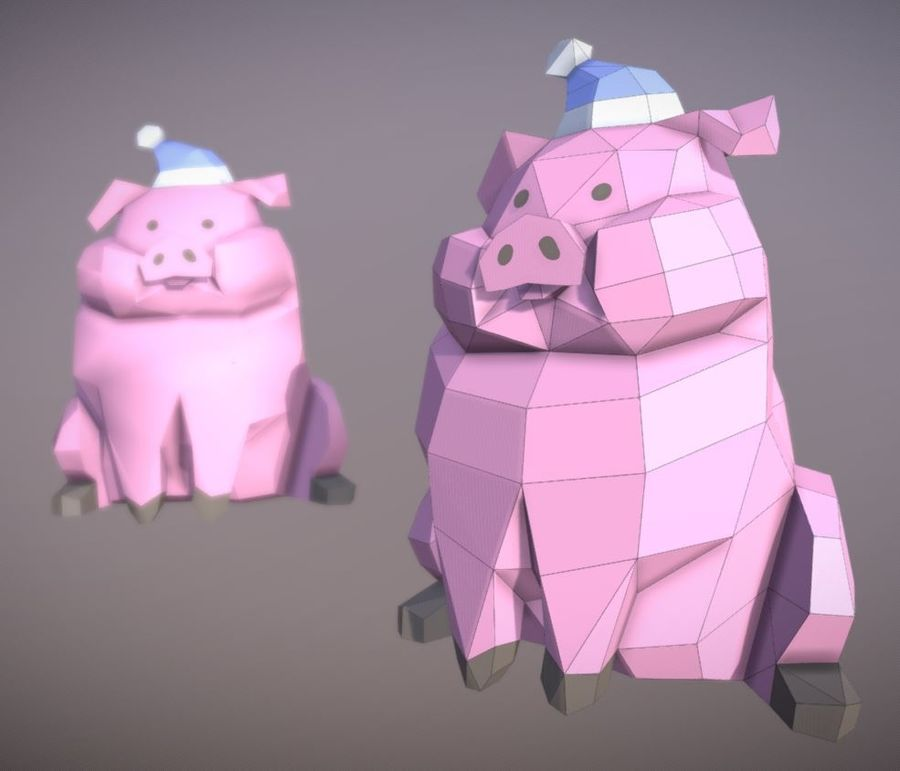 Pig Waddles royalty-free 3d model - Preview no. 4