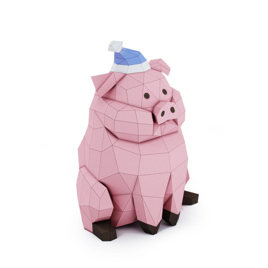 Pig Waddles royalty-free 3d model - Preview no. 2