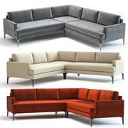 West Elm Andes Sofa w kształcie litery L. 3d model