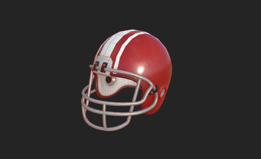 Football helm royalty-free 3d model - Preview no. 17