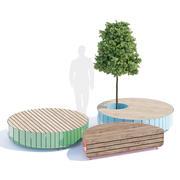 Stripes bench round 3d model