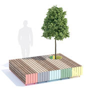 Stripes bench 3d model