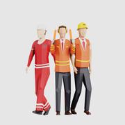 Airport Men Crew 3d model