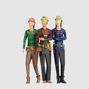 建设者妇女 3d model