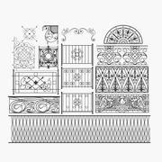 Ornate Railings Set 3d model