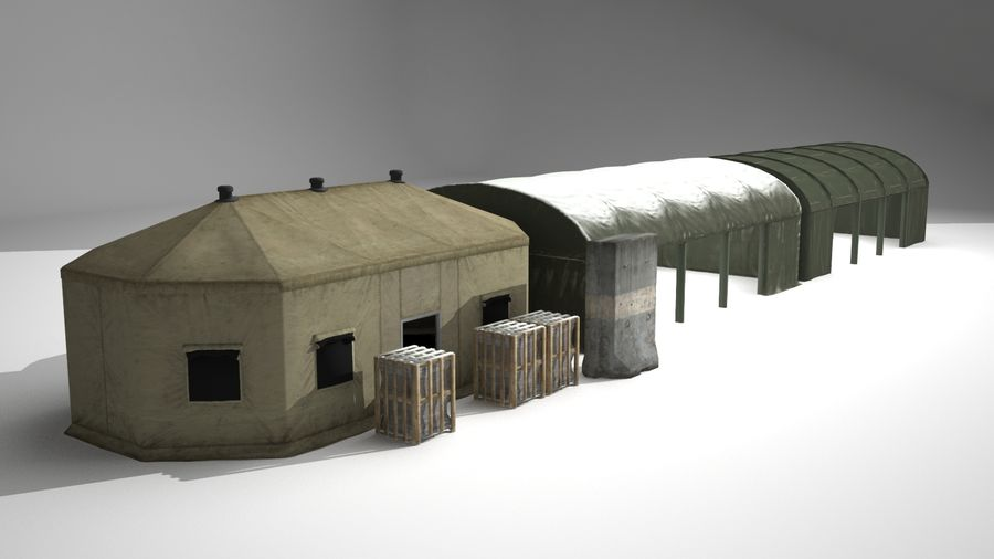 Tenda do acampamento militar royalty-free 3d model - Preview no. 4