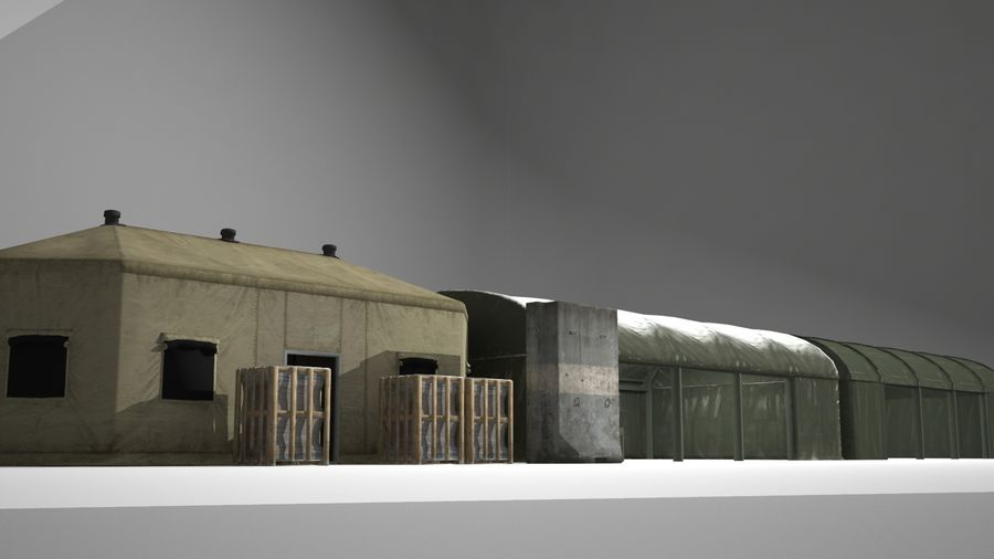 Tenda do acampamento militar royalty-free 3d model - Preview no. 2
