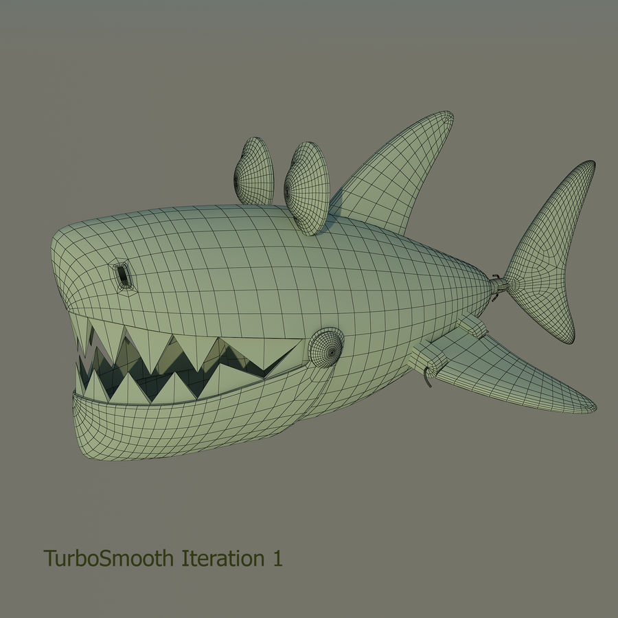 squalo del fumetto - robot royalty-free 3d model - Preview no. 8