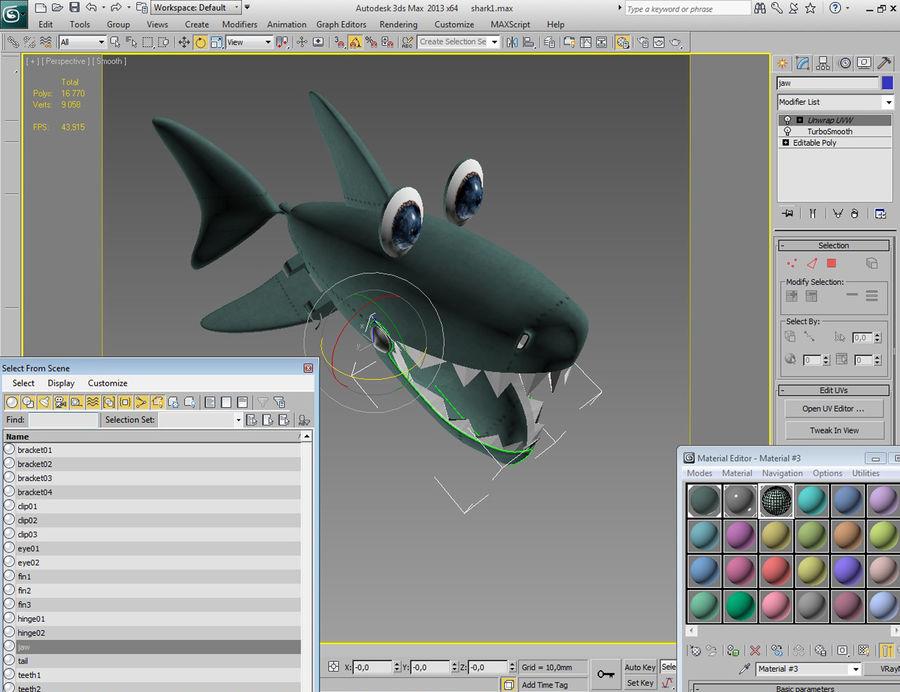 squalo del fumetto - robot royalty-free 3d model - Preview no. 12
