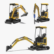 Mini Excavator JCB Rigged 3D Models Collection 3d model