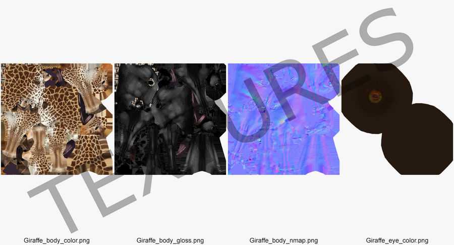 African Giraffe Fur royalty-free 3d model - Preview no. 20