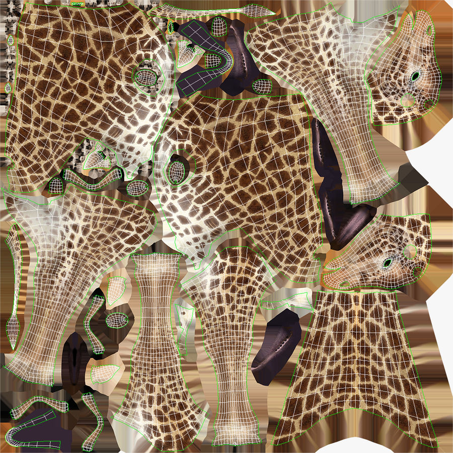 African Giraffe Fur royalty-free 3d model - Preview no. 19