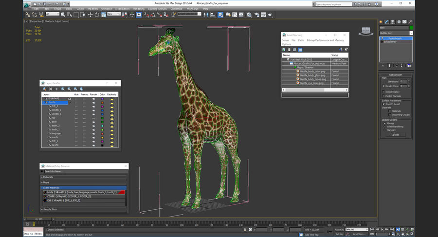 African Giraffe Fur royalty-free 3d model - Preview no. 21