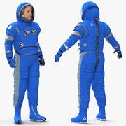 玛雅3D模型的宇航员穿着波音太空服 3d model