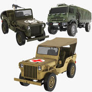 Three Army Vehicle Collection 3d model