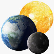 Sun, Earth and Moon collection 3d model