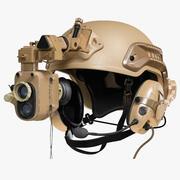 Helm met nachtkijker en koptelefoon 3d model