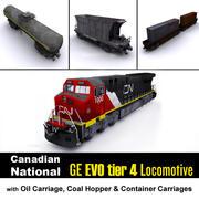 CN Locomotive & Cargo carriage 3d model