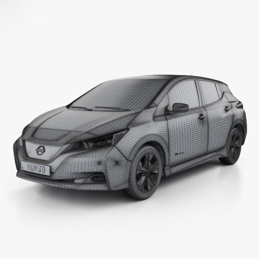 Nissan Leaf con interior HQ 2018 royalty-free modelo 3d - Preview no. 3