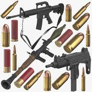 Samling av vapen och kulor 3d model
