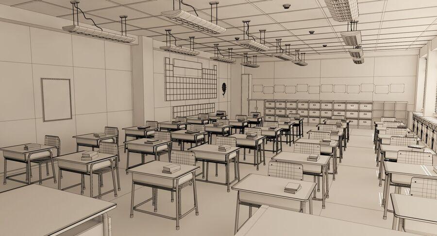 Aula royalty-free 3d model - Preview no. 32