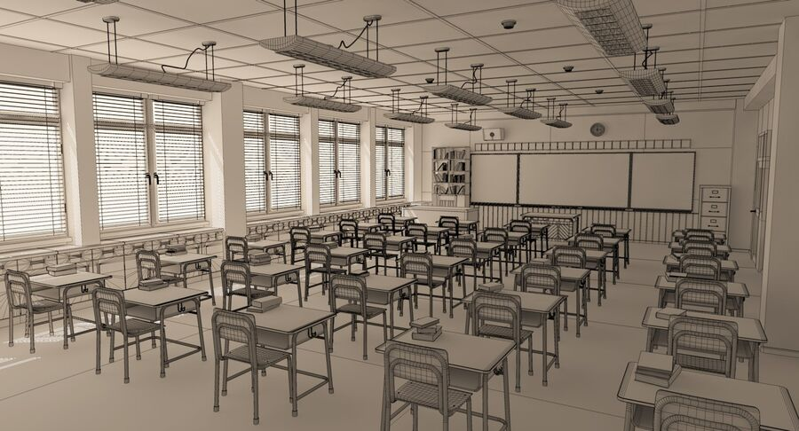 Aula royalty-free 3d model - Preview no. 31
