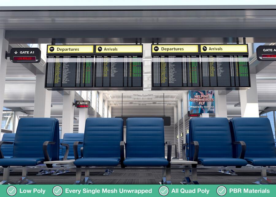Luchthaven vertrek lounge interieur royalty-free 3d model - Preview no. 10