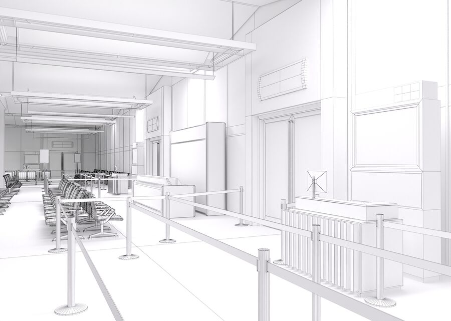 Luchthaven vertrek lounge interieur royalty-free 3d model - Preview no. 22