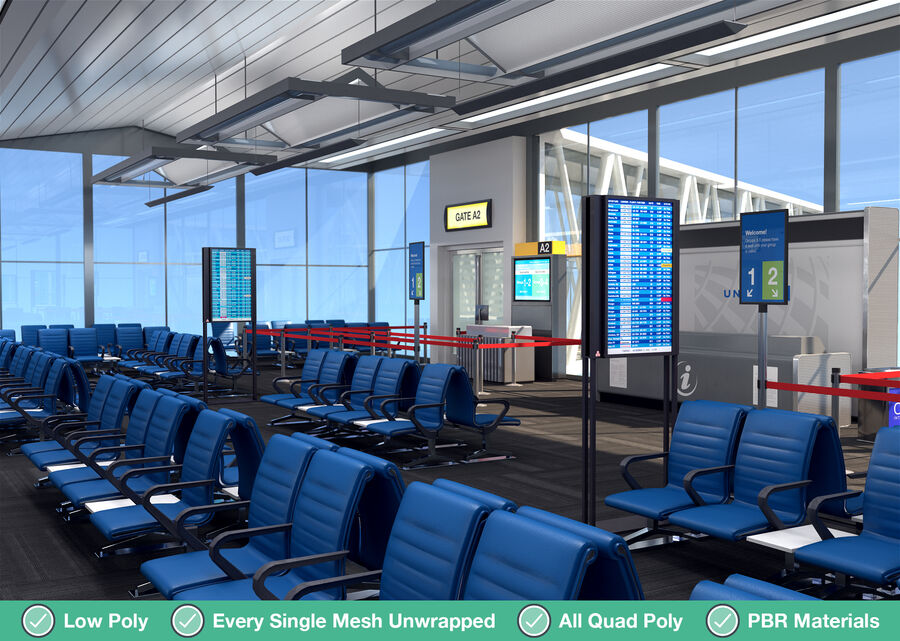 Luchthaven vertrek lounge interieur royalty-free 3d model - Preview no. 15