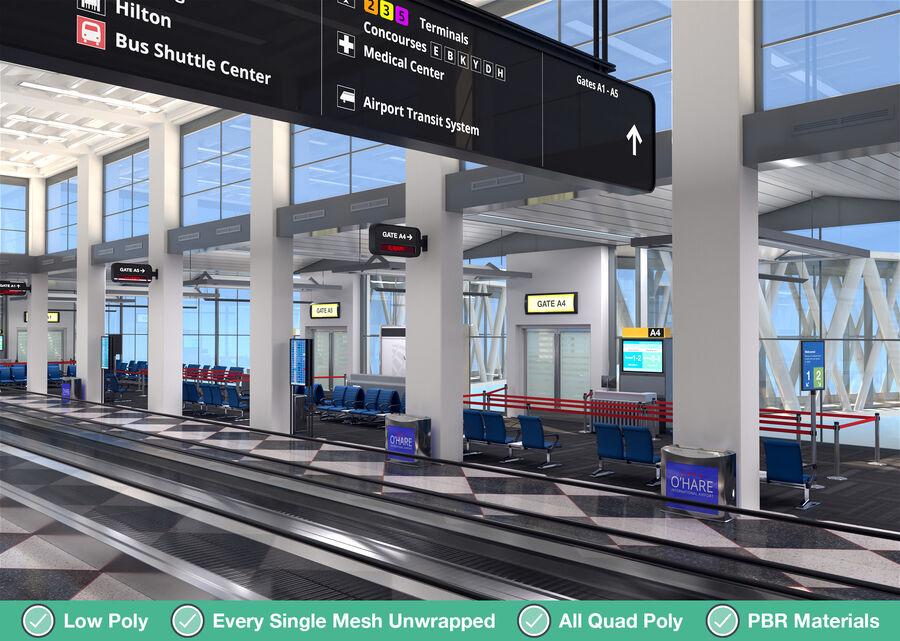 Luchthaven vertrek lounge interieur royalty-free 3d model - Preview no. 2
