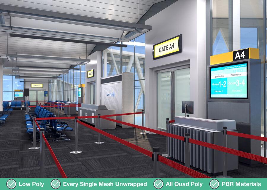 Luchthaven vertrek lounge interieur royalty-free 3d model - Preview no. 3