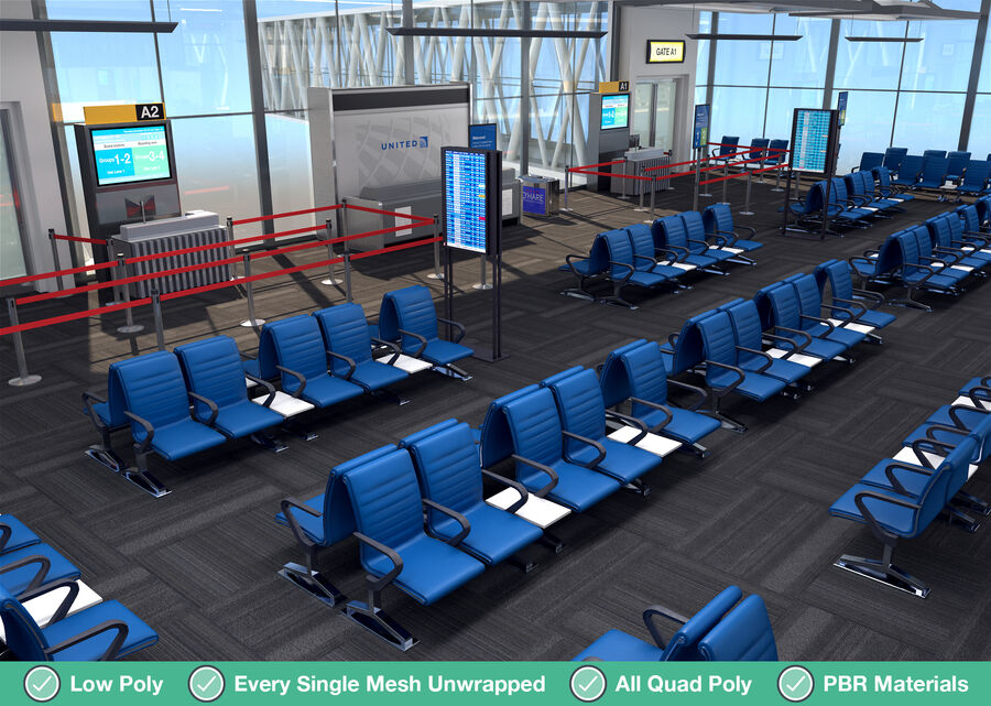 Luchthaven vertrek lounge interieur royalty-free 3d model - Preview no. 18