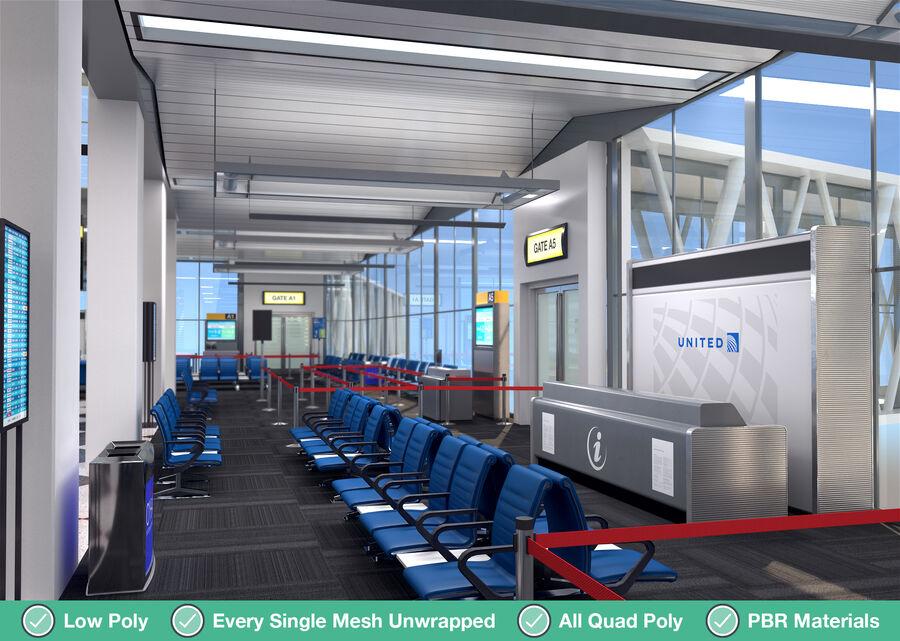 Luchthaven vertrek lounge interieur royalty-free 3d model - Preview no. 4