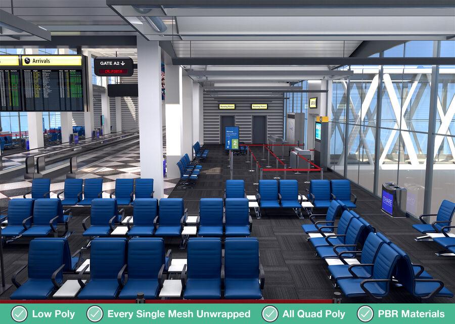 Luchthaven vertrek lounge interieur royalty-free 3d model - Preview no. 19
