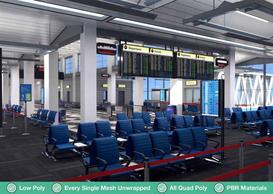 Luchthaven vertrek lounge interieur royalty-free 3d model - Preview no. 6