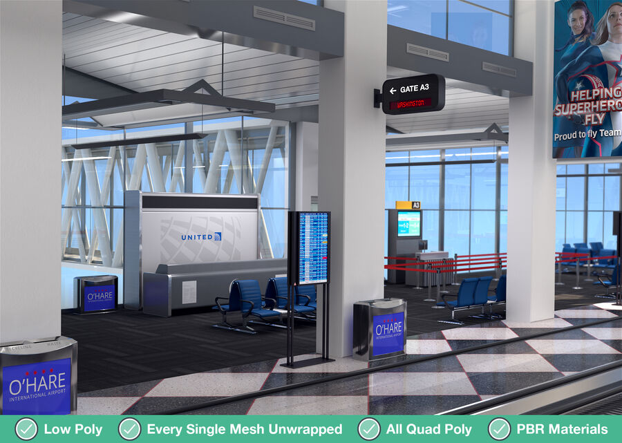Luchthaven vertrek lounge interieur royalty-free 3d model - Preview no. 5