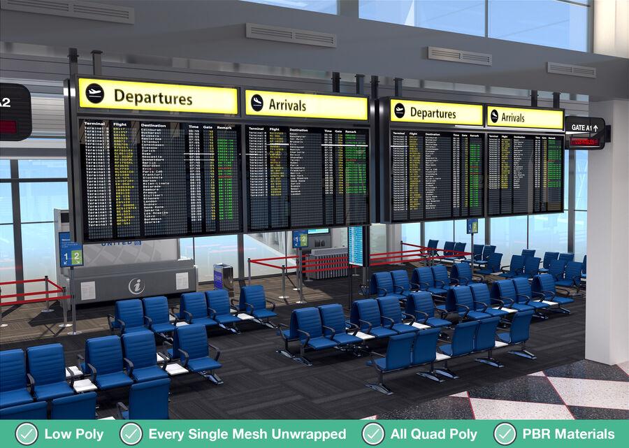 Luchthaven vertrek lounge interieur royalty-free 3d model - Preview no. 12
