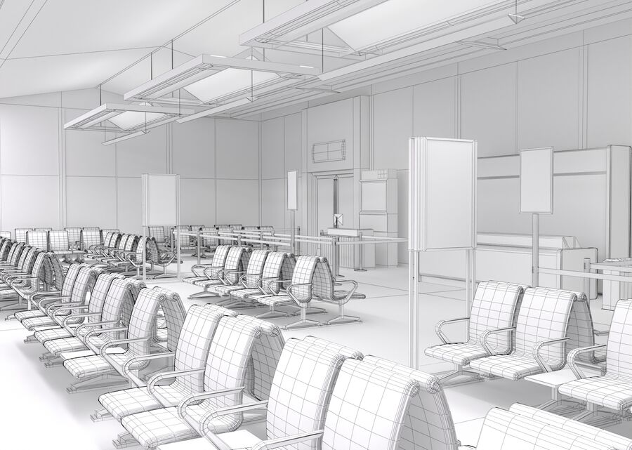 Luchthaven vertrek lounge interieur royalty-free 3d model - Preview no. 28