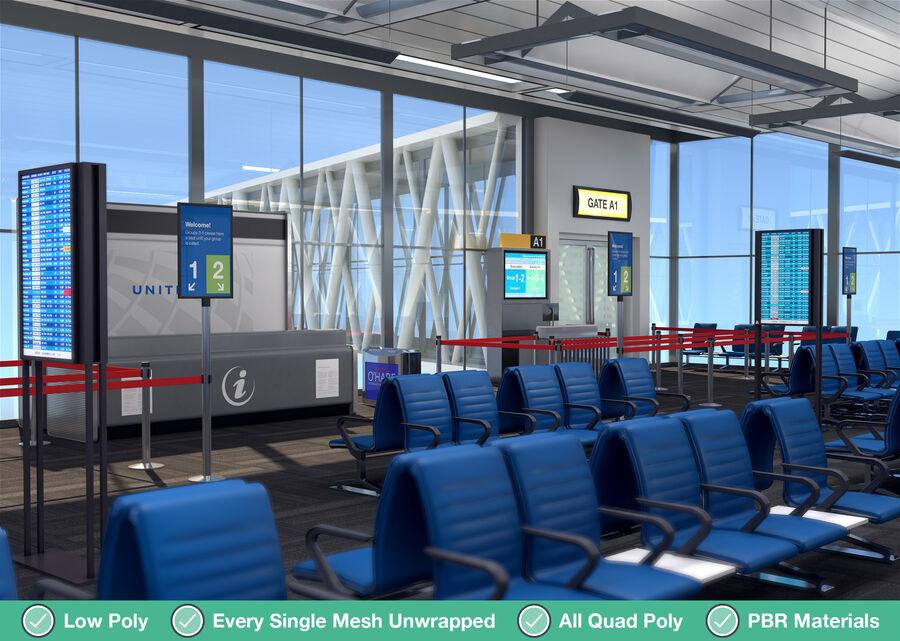 Luchthaven vertrek lounge interieur royalty-free 3d model - Preview no. 7