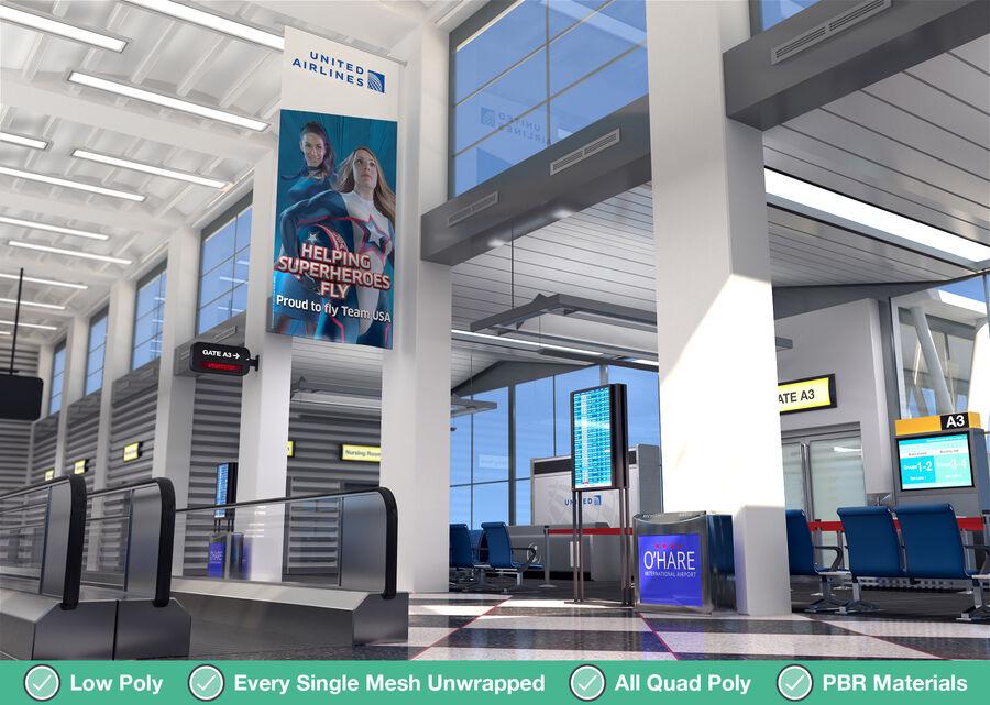 Luchthaven vertrek lounge interieur royalty-free 3d model - Preview no. 8