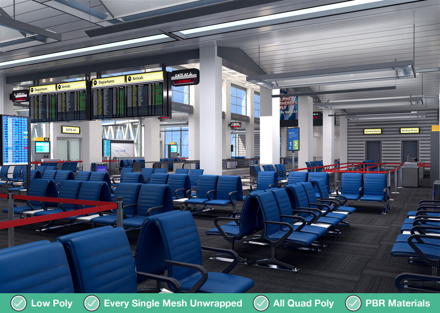 Luchthaven vertrek lounge interieur royalty-free 3d model - Preview no. 16