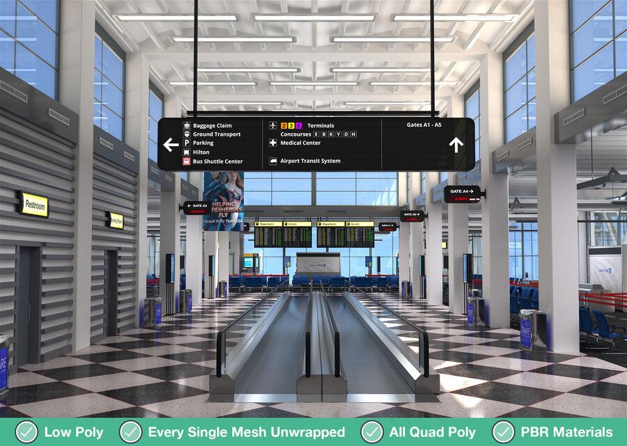 Luchthaven vertrek lounge interieur royalty-free 3d model - Preview no. 1