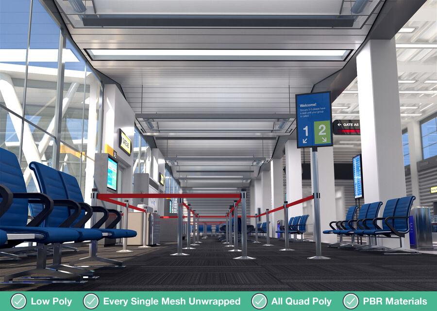 Luchthaven vertrek lounge interieur royalty-free 3d model - Preview no. 14